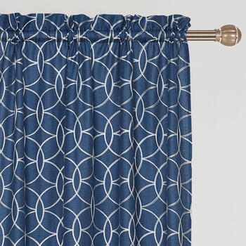"84"" Geometric Embroidered Rod Pocket Window Curtains, Set of 2 view 1"