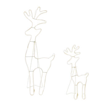 Neon Lighted Standing Deer Yard Decor, Set of 2 view 2