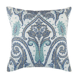 Waverly® Blue Paisley Indoor/Outdoor Square Throw Pillow view 1