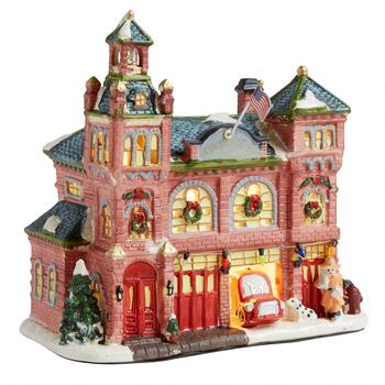 "8.75"" Holiday Fire House Lighted Porcelain Decor"