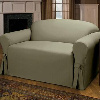 Side Ties Solid Sofa Slipcover