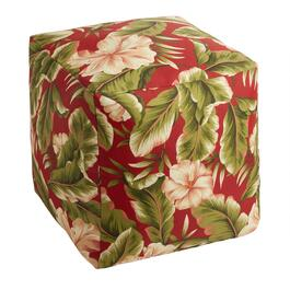 Red Palm Indoor/Outdoor Square Ottoman