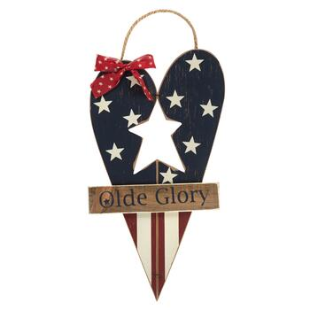 "17.25"" ""Olde Glory"" Wood Wall Hanger"