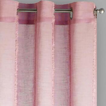 Pink Chenille-Striped Allegra Window Curtains, Set of 2