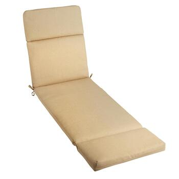 Solid Beige Indoor/Outdoor Hinged Chaise Chair Pad