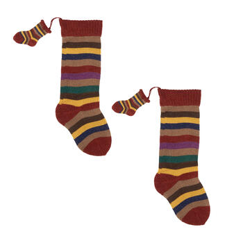 Multicolor Stripe Knit Sock Duo Stockings, Set of 2 view 1