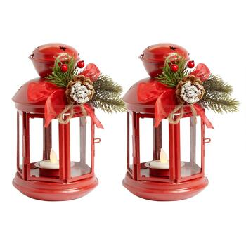 "8"" LED Tealight Christmas Lantern with Star Cutouts, Set of 2"