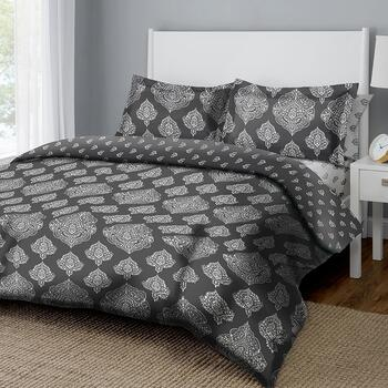 Dreamluxe Gray/White Medallion Reversible Complete Bed Set