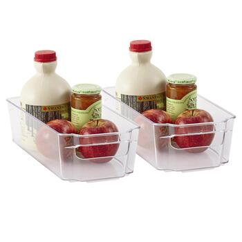 "12"" x 6"" Clear Refrigerator Bins, Set of 2"
