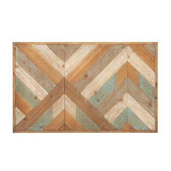 "19""x31"" Teal/Tan Zigzag Wood Panel Wall Decor"