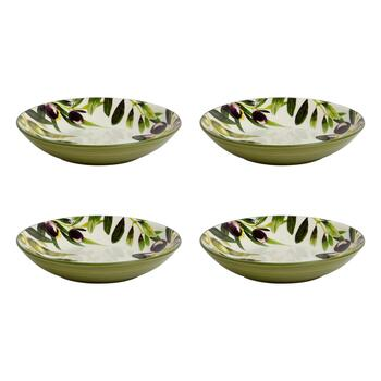"9.5"" Olive Pasta Bowls, Set of 4"
