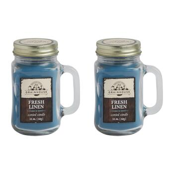 The Grainhouse™ 12-oz. Fresh Linen Scented Mason Jar Candles, Set of 2