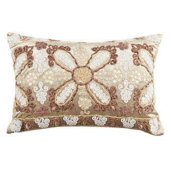 Embellished Metallic Floral Scroll Oblong Throw Pillow