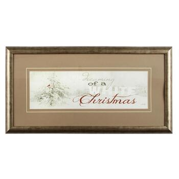 "13""x25"" ""Dreaming of a White Christmas"" Framed Wall Decor"