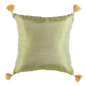 Multi-Stripe Embroidered Square Throw Pillow with Tassels view 2