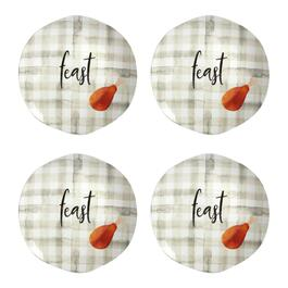"Plaid ""Feast"" Heavyweight Melamine Salad Plates, Set of 4"