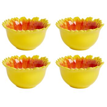 Red/Yellow/Brown Sunflower Ceramic Bowls, Set of 4 view 2