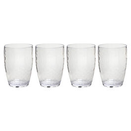 Hammered Double Old Fashioned Acrylic Glasses, Set of 4 view 1