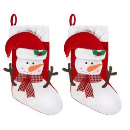 Sequined Scarf Snowman Stockings, Set of 2