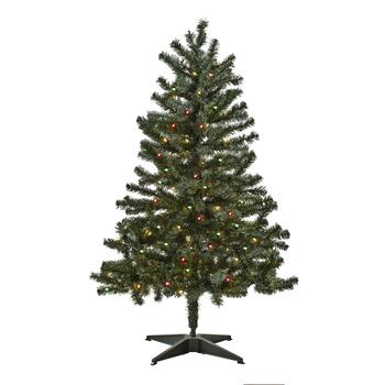 4.5' Pre-Lit Artificial Tree with Multi-Color Lights - 4.5' Pre-Lit Artificial Christmas Tree With Multicolor Lights