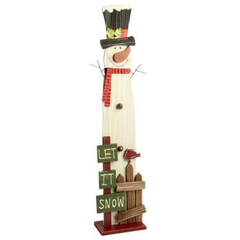 "36"" Standing Wood ""Let It Snow"" Snowman Decor"