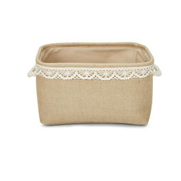 Petal and Stone™ Burlap Lace Lined Rectangular Basket view 1