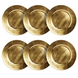 Round Metallic Charger Plates, Set of 6