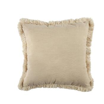 Chenille Fringe Indoor Outdoor Square Throw Pillow