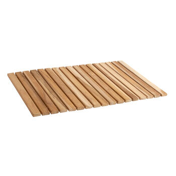 Teak Wood Indoor/Outdoor Roll-Up Mat view 2