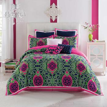 Anthology® Brynn Pink/Green Medallions Reversible Comforter Set