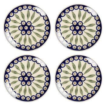 Polish Pottery Peacock Feathers Salad Plates, Set of 4