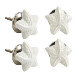 Starfish Ceramic Furniture Knobs, Set of 4