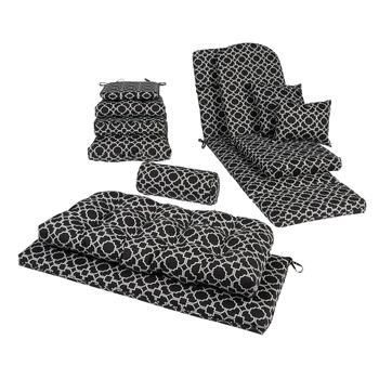 Black/White Trellis Indoor/Outdoor Seat Pads, Pillows and Cushions
