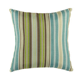 Famous Maker Blue/Green Stripes Indoor/Outdoor Square Throw Pillow view 1