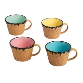 "3.5"" Waffle Cone Multicolored Ice Cream Mugs, Set of 4"