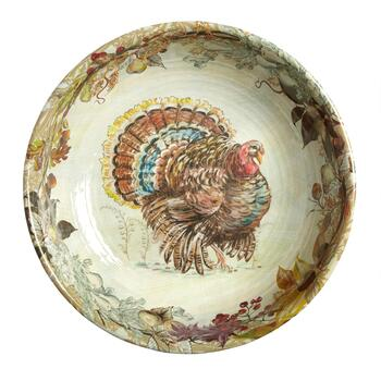 Fall Turkey Melamine Serving Bowl