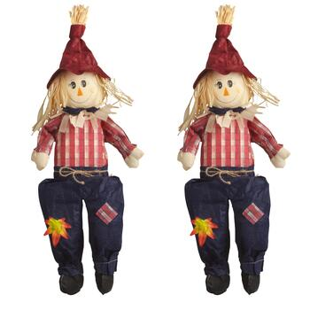 "24"" Red Hat Sitting Scarecrow Boy, Set of 2"