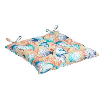 Seashells Indoor/Outdoor Tufted Square Seat Pad