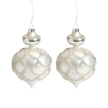 "6.75"" Beaded Chubby Teardrop Ornaments, Set of 2"