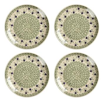 Polish Pottery Green Basketweave Dinner Plates, Set of 4