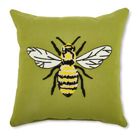 "18"" x 18"" Green Embellished Bee Throw Pillow view 1"