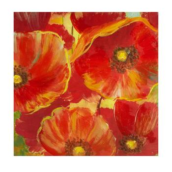 "30"" Red Flowers Hand-Painted Canvas Wall Art"