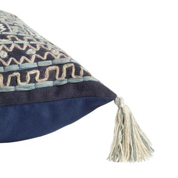 Blue Square Tribal Embroidered Throw Pillow view 2 view 3