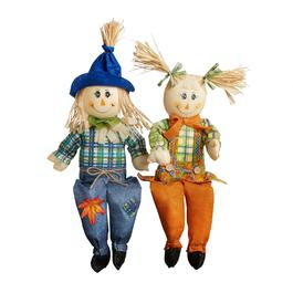 "24"" Orange/Blue Standing Scarecrow Couple Set, 2-Piece"