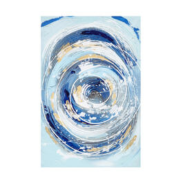 "16""x24"" Blue/Gold Circles Abstract Canvas Wall Art view 1"