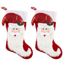Sequined Hat Santa Stockings, Set of 2