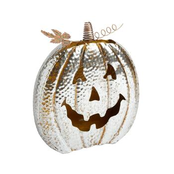 "12"" Hammered Metal Jack-O-Lantern Tealight Holder"