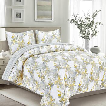 Yellow/Gray Floral Reversible Mini Quilt Set