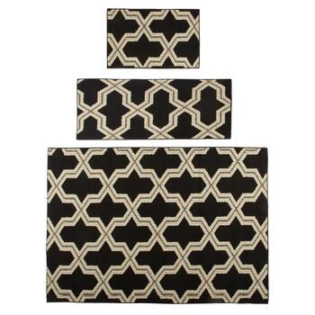 3-Piece Black/Ivory Geo Rug Set