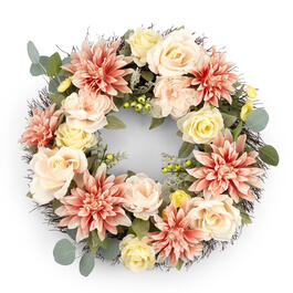 "Petal and Stone™ 24"" Dahlia & Rose Wreath view 1"